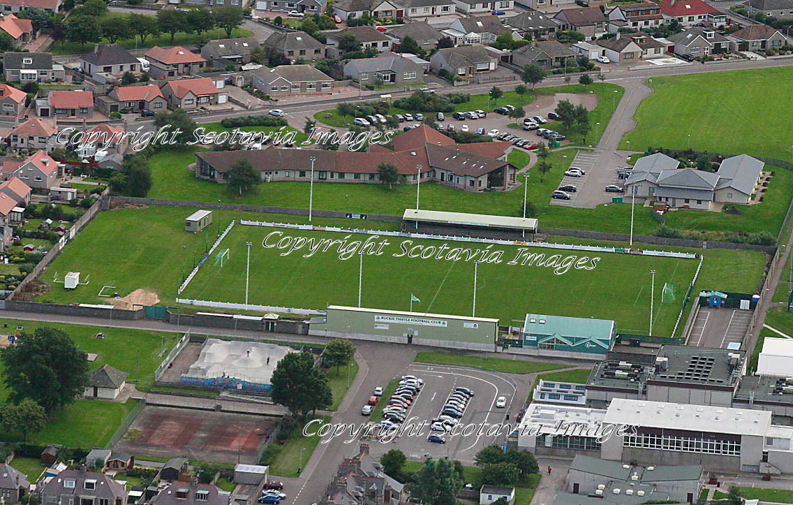 Aerial photography Scotland  Buckie Thistle football stadium club