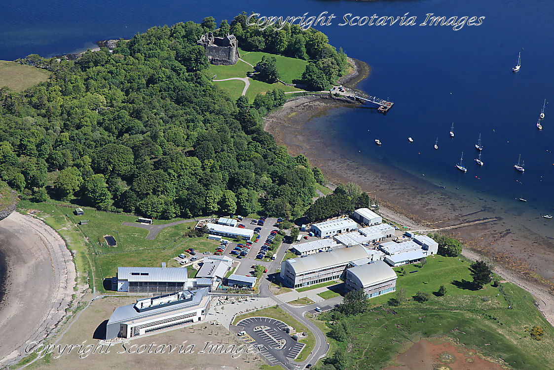 Aerial photography Scotland Dunstaffnage marine lab and castle