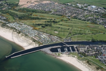 Aerial photography Scotland Nairn dunbar Golf course marina