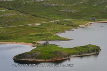Aerial photography Scotland Scottish scenery Ardvreck castle wider view