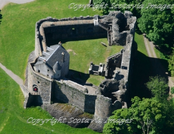 Aerial photography Scotland Dunstaffnage castle closer