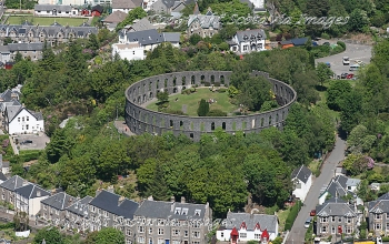 Aerial photography Scotland Battery Hill Mc Caigs tower Oban