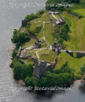 Aerial photography Scotland Scottish scenery Urquhart castle a busy day in Summer
