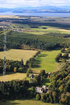Aerial photography Scotland Kilravock castle to Moray firth
