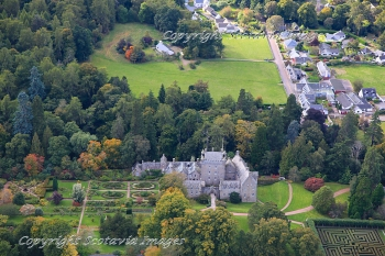 Aerial photography Scotland  Cawdor Castle and village