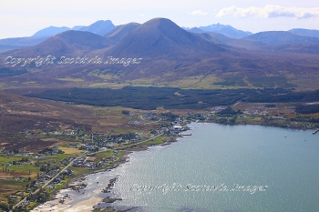 Aerial photography Scotland Broadford with Beinn na Caillach 2403 feet ,Isle of Skye