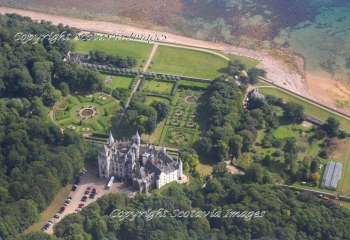 Aerial photography Scotland Scottish Castles Dunrobin castle gardens