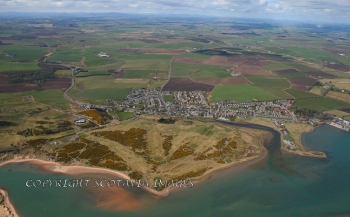Aerial photography Scotland Newburgh and golf links